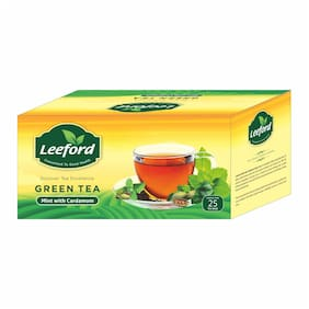 Leeford Green Tea Mint with Cardamom for Immunity Booster Combo Pack of 2 (25 Tea Bags Each)