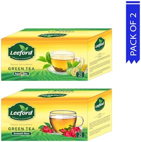 Leeford Green Tea Aqua Slim+Aromatic Rose with Natural Ingredients and Richness of Rose For Weight Loss and Healthy Benefits 25 Bags Each Pack of 2