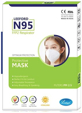 Leeford N95 Face Mask 5 Layered For Protection and Safety Combo Pack of 10 pcs.
