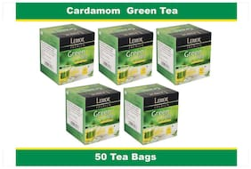 Lemor Cardamom Green Tea Bag with Natural ingredients and No added preservative best for weight loss | Aids in detox| Rich in antioxidant (5 X 10 Tea Bags)