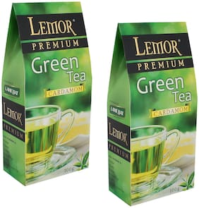 Lemor Cardamom Flavored Green Tea (100 gm) Pack of 2 for Healthy Indian Beverage Drinkers