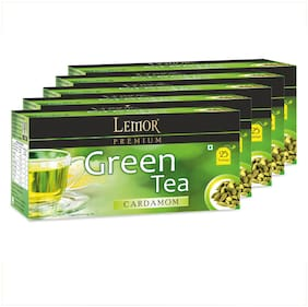 Lemor  Cardamom Green Tea Bag with Natural ingredients and No added preservative best for weight loss | Aids in detox| Rich in antioxidant (5 x 25 Tea Bags)