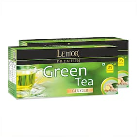 Lemor Ginger Green Tea Bag with Natural ingredients and No added preservative best for weight loss | Aids in detox| Rich in antioxidant (2 x 25 Tea Bags)