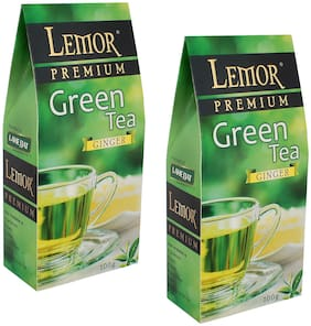 Lemor Ginger Flavored Green Tea (100 g) Pack of 2 for Healthy Indian Beverage Drinkers
