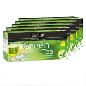 Lemor Premium Green Tea Bag with Natural ingredients and No added preservative best for weight loss | Aids in detox| Rich in antioxidant (5 x 25 Tea Bags)