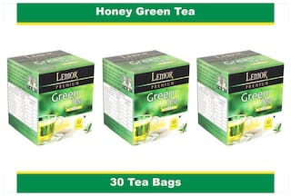 Lemor Honey Green Tea Bag with Natural ingredients and No added preservative best for weight loss | Aids in detox| Rich in antioxidant (3 x 10 Tea Bags)