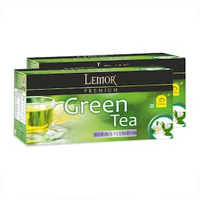 Lemor Jasmine Green Tea Bag with Natural ingredients and No added preservative best for weight loss | Aids in detox| Rich in antioxidant (2 x 25 Tea Bags)