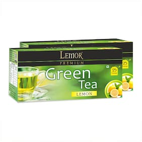 Lemor Lemon Green Tea Bag with Natural ingredients and No added preservative best for weight loss | Aids in detox| Rich in antioxidant (2 x 25 Tea Bags)