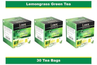 Lemor Lemon Grass Green Tea Bag with Natural ingredients and No added preservative best for weight loss | Aids in detox| Rich in antioxidant (3 x 10 Tea Bags)