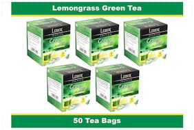 Lemor Lemon Grass Green Tea Bag with Natural ingredients and No added preservative best for weight loss | Aids in detox| Rich in antioxidant (5 x 10 Tea Bags)