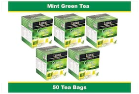 Lemor Mint Green Tea Bag with Natural ingredients and No added preservative best for weight loss | Aids in detox| Rich in antioxidant (5 x 10 Tea Bags)
