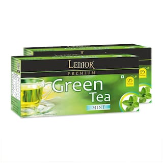 Lemor Mint Green Tea Bag with Natural ingredients and No added preservative best for weight loss | Aids in detox| Rich in antioxidant (2 x 25 Tea Bags)