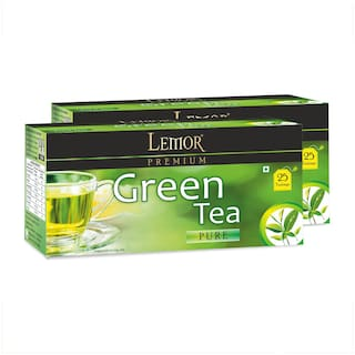 Lemor Premium Green Tea Bag with Natural ingredients and No added preservative best for weight loss   Aids in detox  Rich in antioxidant (2 x 25 Tea Bags)