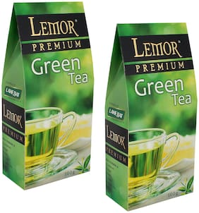 Lemor Premium Green Tea (100 gm) Pack of 2 for Healthy Indian Beverage Drinkers
