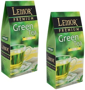 Lemor Tulsi Flavored Green Tea (100 g) Pack of 2 for Healthy Indian Beverage Drinkers
