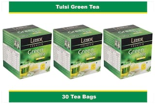 Lemor Tulsi Flavored Green Tea Bag box (3 Pack of 10 Tea bag pieces) for Healthy Indian Beverage Drinkers (Brand Outlet)
