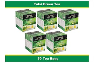 Lemor Tulsi Flavored Green Tea Bag box (5 Pack of 10 Tea bag pieces) for Healthy Indian Beverage Drinkers (Brand Outlet)