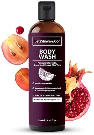 LetsShave Hydrating Body Wash with Pomegranate Fruit Extract and Grape seed oil;250 ml