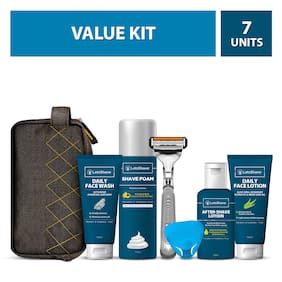 LetsShave Men's Grooming and Shaving Essential Kit (Razor,Razor Cap,Facewash,Shave foam,Aftershave lotion,Face Lotion,Travel Bag)