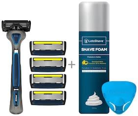 LetsShave Pace 6 Pro Shaving Razor + Pack of 4 Blades + Free(Razor Stand + Travel Cap + Shaving Foam - 200 gm)