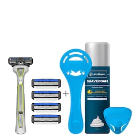 LetsShave Pace 3 Manual Shaving Razor for Men, Shaving Kit (1 Razor Handle, 4 Blades Cartridge with Free 1 Razor Cap, 1 Razor Stand, 1 Shaving Foam 200 gram)