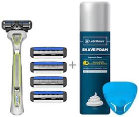 LetsShave Pace 3 Shaving Razor + Pack of 4 Blades + Free(Razor Stand + Travel Cap + Shaving Foam - 200 gm)