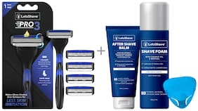 LetsShave Pro 3 Shaving Razor  With 4 Blades, Razor Cap, After Shave Balm and Shave Foam - 200 g