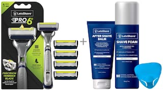 LetsShave Pro 6 Plus Shaving Razor - 4 Blades with Razor Cap,  After Shave Balm and Shave Foam - 200 g