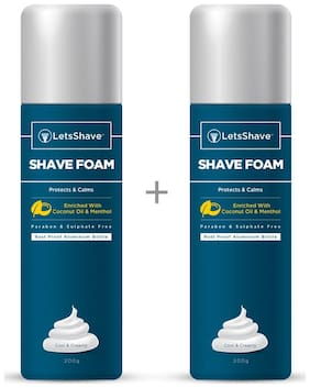 LetsShave Shave Foam Sensitive Skin Protection with Coconut Oil and Menthol, Paraben and Sulphate Free | Rust-Proof Aluminium Bottle - 200 gram Each, Pack of 2 (2-Count)