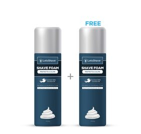 LetsShave Shave Foam - Coconut Oil Enriched - Rust Proof Aluminium Bottle (Paraben And Sulphate - 200 gm (1 + 1 Free)