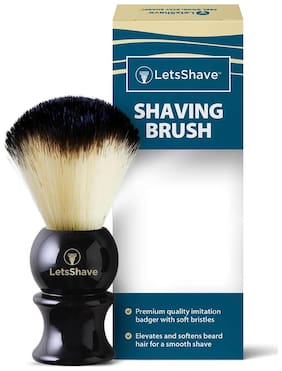 LetsShave Imitation Badger Shaving Brush, Hand Made, Soft Hair (Glossy Black Handle)