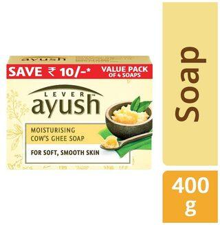 Lever Ayush Moisturising Cow's Ghee Soap 100 gm (Pack of 4)