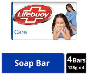 Lifebuoy Soap Bar - Care  100% Better Germ Protection 125 g each (Pack Of 4)