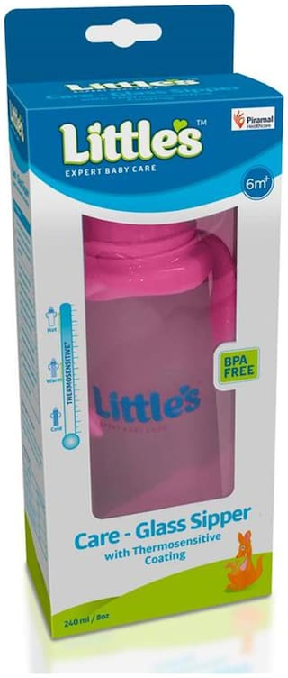 Little's Care Glass Sipper - Pink 240 ml