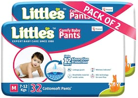 Little's Comfy Baby Pants - Medium - 32 Pieces (Pack of 2)