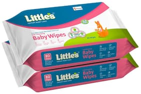 Little's Soft Cleansing Baby Wipes -80 Wipes (Pack of 2)