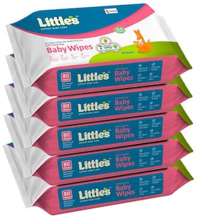 Little's Soft Cleansing Baby Wipes -80 Wipes (Pack of 5)