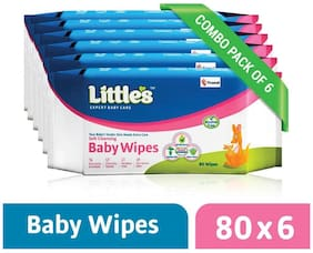 Little's Soft Cleansing Baby Wipes (Pack of 6) 80 Wipes