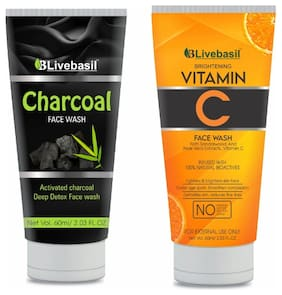 B LIVEBASIL OVERSEAS activated charcoal and vitamin c face wash combo pack (2 X 60 ml)
