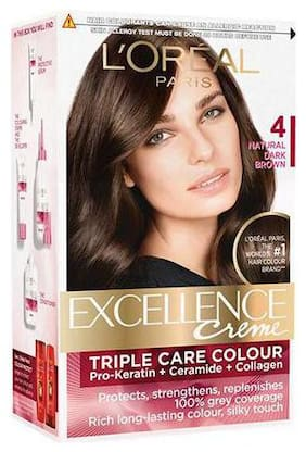 Loreal Paris Excellence Creme Hair Color - 4 Natural Dark Brown 172 g