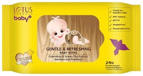 Lotus Herbals baby+ Gentle & Refereshing Baby wipes 24 N (Pack of 2)