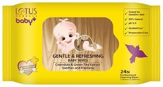Lotus Herbals baby+ Gentle & Refereshing Baby wipes 24 N (Pack of 2)