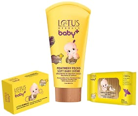 Lotus Herbals Baby+ Combo Pack (Creme 50gm, Soap 75gm & Wipes 24N)