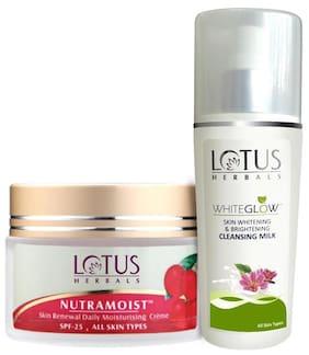 Lotus Herbals Spf 25 Nutramoist Skin Renewal Daily Moisturising Creme And Whiteglow Cleaning Milk 80 ml