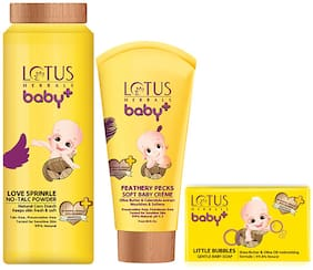 Lotus Herbals Baby+ Combo Pack (Creme 50 g, Soap 75 g & Powder 100 g)
