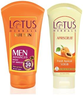 Lotus Herbals Combo Pack - Safe Sun Men Advanced Sunblock SPF 30-100g PA+++ & Apriscrub 60g