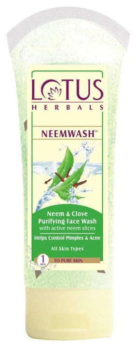 Lotus Herbals Neemwash Neem And Clove Purifying Face Wash With Active Neem Slices 80 G (Pack Of 3)