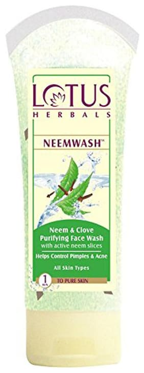 Lotus Herbals Neemwash Neem & Clove Purifying Face Wash With Active Neem Slices 80 G