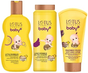 Lotus Herbals Baby+ Combo Pack (Shampoo 200ml, Powder 100 g & creme 50g)