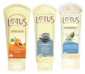 Lotus Herbals Combo Of Apriscrub And Skin Whitening Face Pack With Nourishing Face Wash